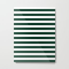 Narrow Horizontal Stripes - White and Deep Green Metal Print