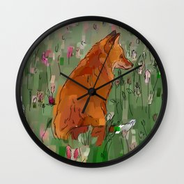 The hare and the fox Wall Clock