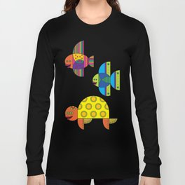 Stylize fantasy fishes and turtle under water. Long Sleeve T-shirt