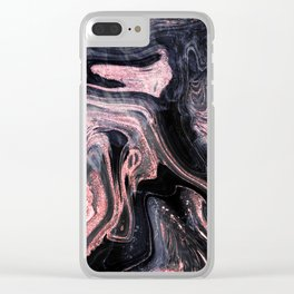 Stylish rose gold abstract marbleized design Clear iPhone Case