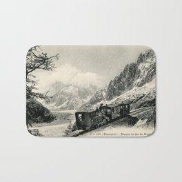 Antique train rack railway near Mont Blanc French Alps Bath Mat