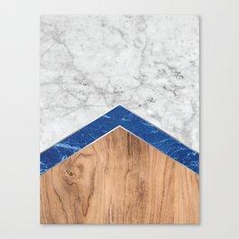 Arrows - White Marble, Blue Granite & Wood #436 Canvas Print