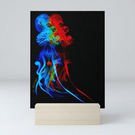 Glitter glow octopus on jelly fish Mini Art Print