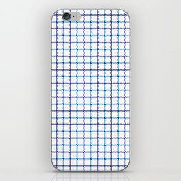 Classic Blue & White Large Tattersall Check Pattern iPhone Skin