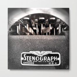 Stenograph Typewriter Author Court Stenography Stenographer Law Lawyer Attorney Metal Print