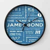 bond Wall Clocks featuring Bond Blue by Candace Fowler Ink&Co.
