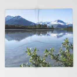 Placer River at the Bend in Turnagain Arm, No. 2 Throw Blanket