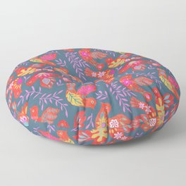 Folk art birds Floor Pillow