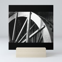 Waterwheel Gießenbach, black and white Mini Art Print