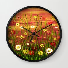 Flowers in the sunrise Wall Clock