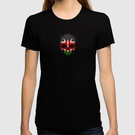Flag of Kenya on a Chaotic Splatter Skull T-shirt