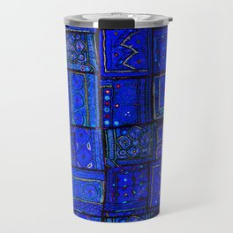 -A2- Lovely Calm Blue Traditional Moroccan Pattern Artwork. Travel Mug