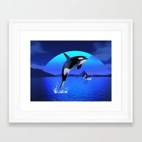 orca Framed Art Prints featuring Orca by Simone Gatterwe