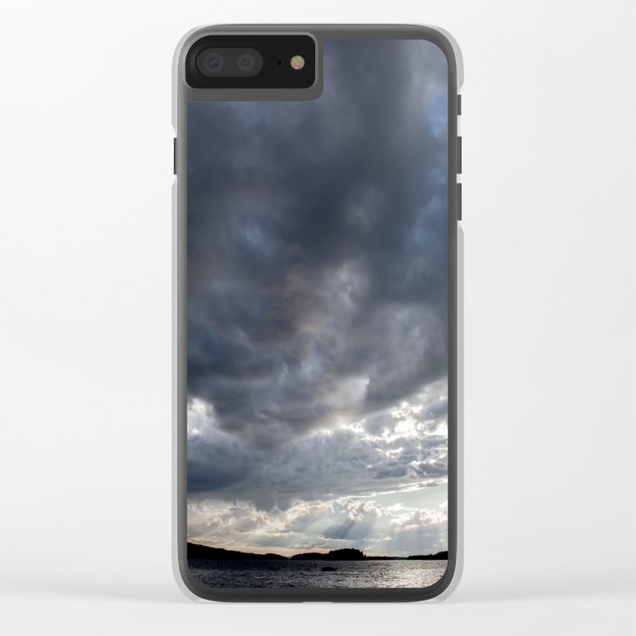 Dark Clouds Coming Over Lake In Scandinavia Clear iPhone Case