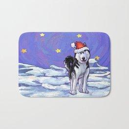 Husky Christmas Bath Mat