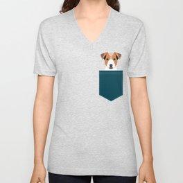 Bailey - Jack Russell Terrier phone case art print gift for dog people Jack Russell Terrier owners Unisex V-Neck