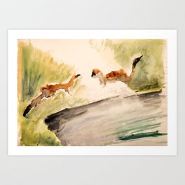 Stoat in the sunset (watercolor) Art Print