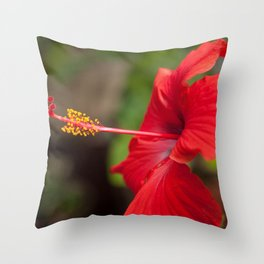 Close up of a Red Hibiscus Throw Pillow