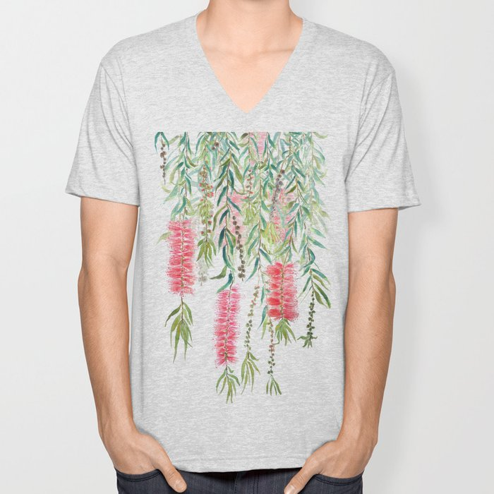 bottle brush tree flower Unisex V-Neck