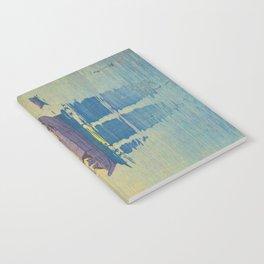 Sailing Boats, Morning Hiroshi Yoshida Modern Japanese Woodblock Print Notebook