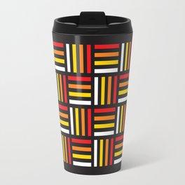 Geometric Pattern #166 (red yellow stripes) Travel Mug
