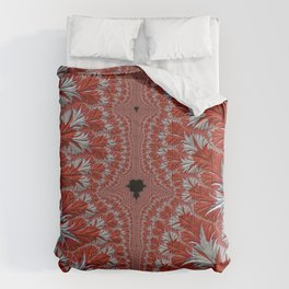 Red and White Abstract Fractal Comforters