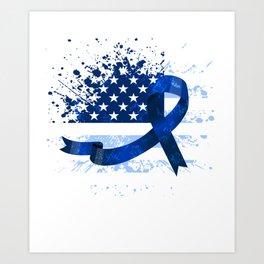 USA Flag Colon Cancer Suppor Art Print