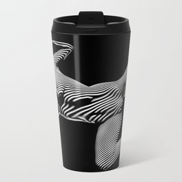 8431-KMA BW Striped Art Nude Woman Open Free Empowered Metal Travel Mug
