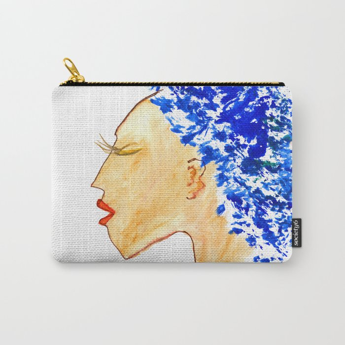 Blue afro queen Carry-All Pouch