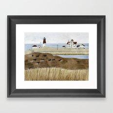 Seashore lighthouse and wild horses Framed Art Print