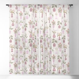 Flowers and leaf plants in vases pattern Sheer Curtain