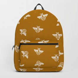 Bee pattern in gold yellow background Backpack