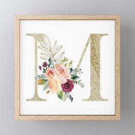 M Monogram Gold Foil Initial with Watercolor Flowers Framed Mini Art Print