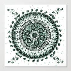 Classical Circle Turquoise Mandala Canvas Print