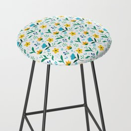Summer flowers in yellow and blue in white background Bar Stool