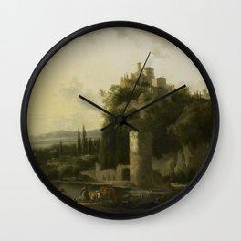 Italina landscape with round tower, Frederik de Moucheron, 1667 Wall Clock