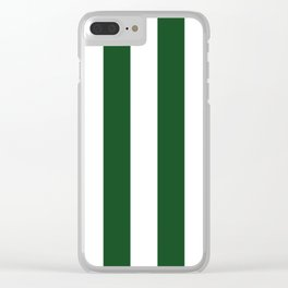 Jumbo Forest Green and White Rustic Vertical Cabana Stripes Clear iPhone Case