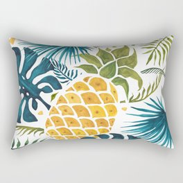Golden pineapple on palm leaves foliage Rectangular Pillow