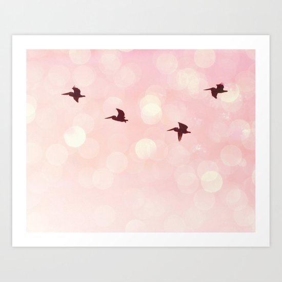 Pelicans Flying Art Print