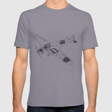 Airplane diagram Mens Fitted Tee Slate 2X-LARGE