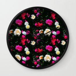 Dark Floral Rose Garden Wall Clock