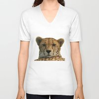 cheetah V-neck T-shirts featuring Cheetah by Sean Foreman