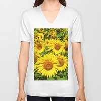 sunflowers V-neck T-shirts featuring Sunflowers. by Assiyam