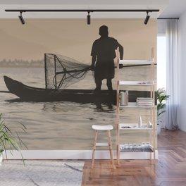 Indian Fisherman on Lake Wall Mural