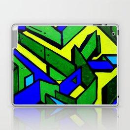 Green and blue graffiti - street art Laptop & iPad Skin
