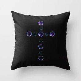 Blue Bejewelled Cross Throw Pillow
