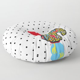 Famous Rooster of Barcelos 01 | Lucky Charm & Polka Dots Floor Pillow