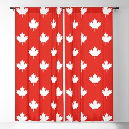 Large Reversed White Canadian Maple Leaf on Red Blackout Curtain