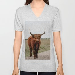 Highland Cow in nature   Scottish Highlanders, cattle in the Netherlands   Wild animals   Fine art travel and nature photography art print Unisex V-Neck