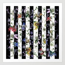 Vibrant Exotic Floral on Black and White Stripes Art Print